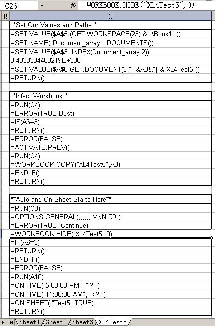 XL4Test5病毒宏脚本代码