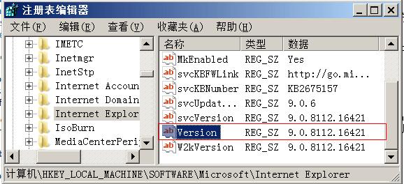 注册表查找IE版本