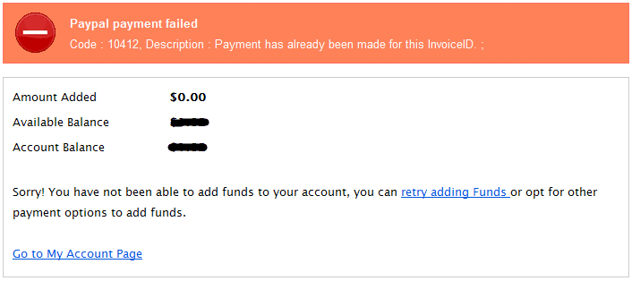 NameCheap Paypal payment failed