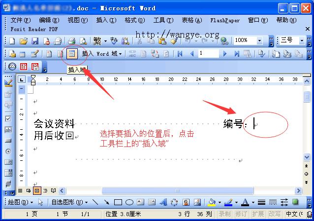 Word 2003 插入域